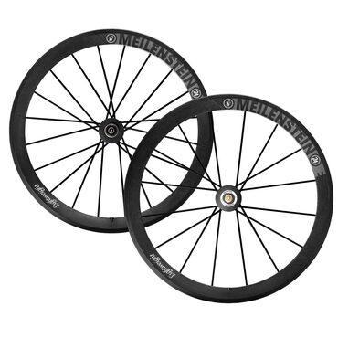 Roues carbone vélo route Lightweight Meilenstein 24E à boyaux avec housses