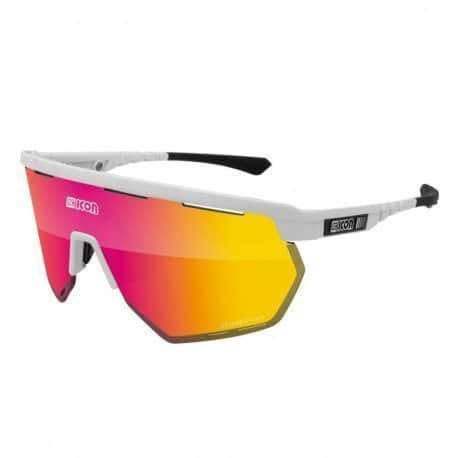 Lunettes vélo Scicon Aerowing White Gloss Multimirror Red